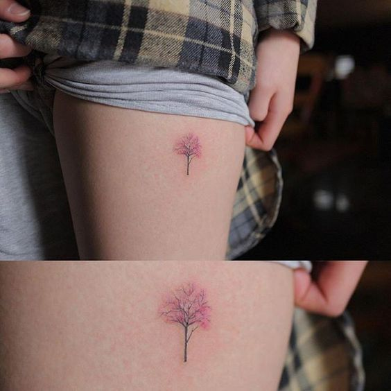 Illustrative cherry #tree #tattoo covering a little scar by Muha Lee @tattooistmuha #littletattoos #smalltattoos #life #family #art #girls #fashion #style #awesome #tattoofilter #tattoos: