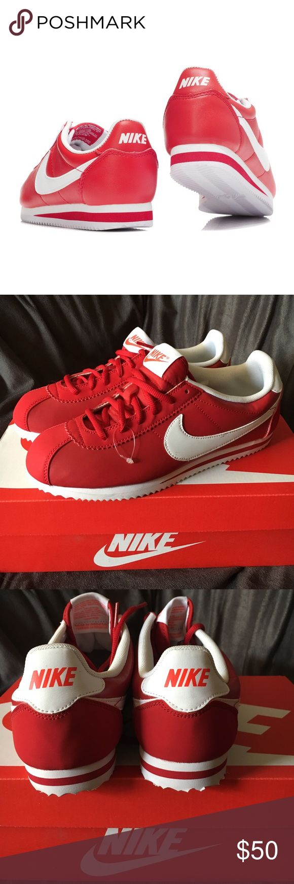 Red leather Nike Cortez Please note that these are big kid sizes. 7Y which translate to 8-8.5 women's! BNWOT . So cute that i'm tempted to keep these! Nike Shoes Sneakers