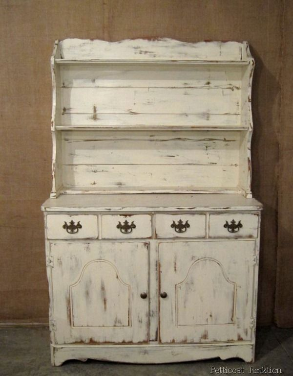 """Painted Furniture, White Hutch ~ can't believe how beautiful this is considering the ho hum """"before"""" picture."""