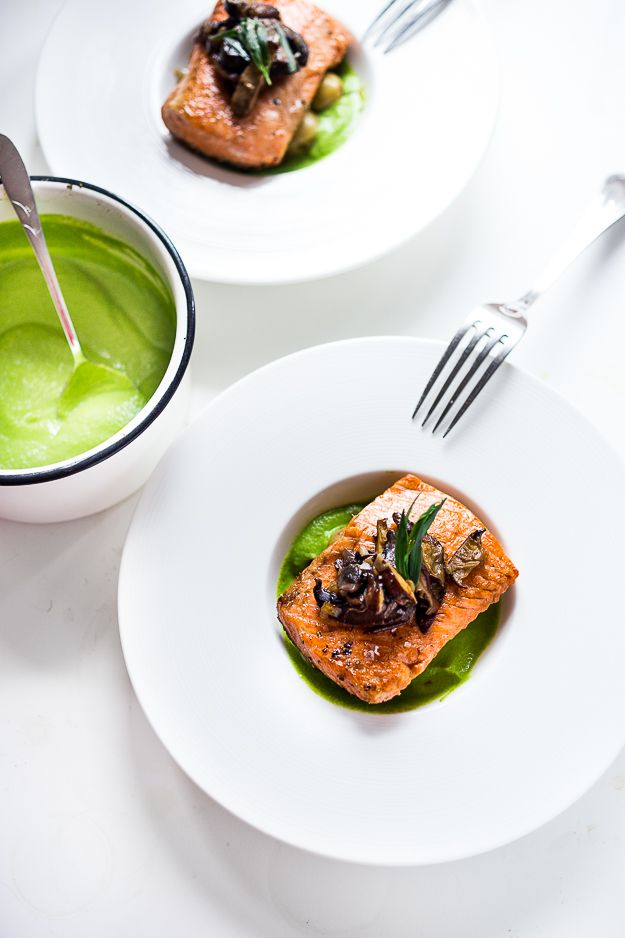 Pan-Seared Steelhead w/ Mushrooms, New Potatoes & Truffled Spring Pea Sauce | Feasting At Home