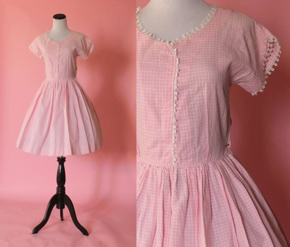 1950s pink gingham sundress/ 50s checkered by thesweetlifevintage