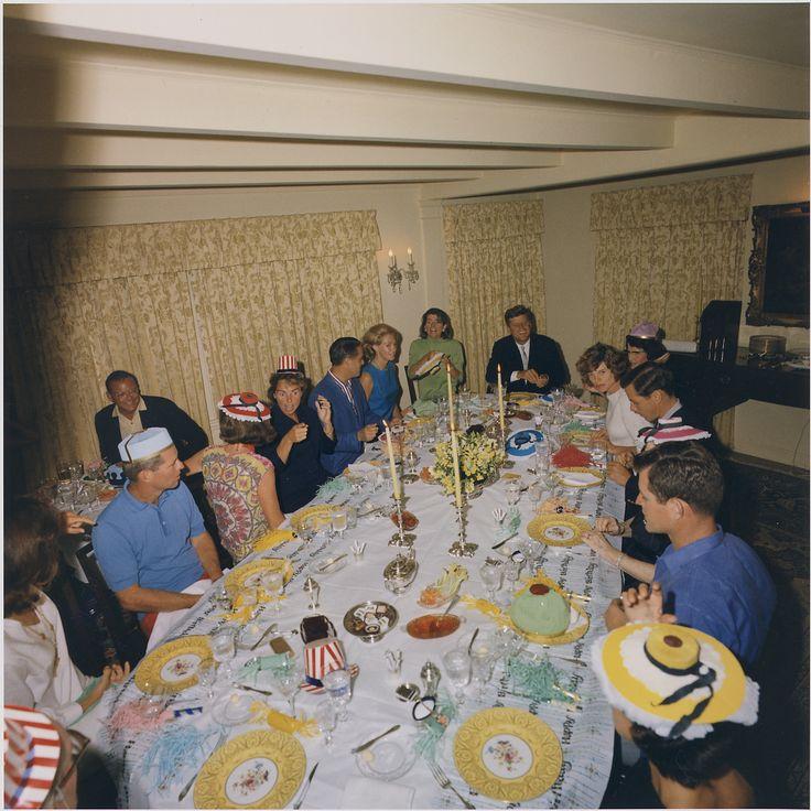 Party for Ambassador Joseph P. Kennedy's 75th Birthday. Jacqueline Kennedy, Robert F. Kennedy, K. Lemoyne Billings, Jean Kennedy Smith, Ethel Kennedy, R. Sargent Shriver, Joan Kennedy, Patricia Kennedy Lawford, President Kennedy, Eunice Kennedy Shriver, Steve Smith, Edward M. Kennedy, Ann Gargan. Hyannisport, MA, Joseph P. Kennedy residence.