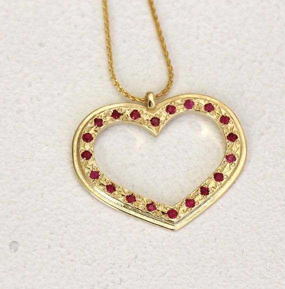 LOVE><LOVE>< LOVE><LOVE><LOVE>< LOVE>< Ready to ship!!!  Valentines ruby heart necklace made from 14k solid gold unique handmade necklace.  Valentines Gift, Wedding Jewelry, Womens Fine Jewelry, Valentines day gifts for her, a beautiful Ruby heart necklace.  #valentinesday #heartnecklace