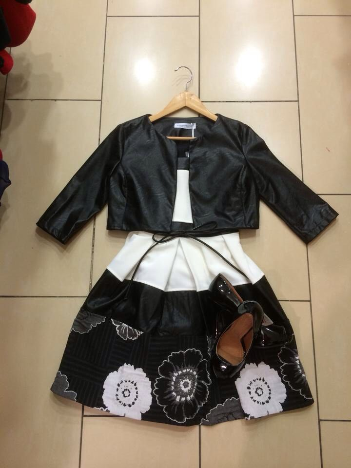 Rinascimento dress €195 & crop Eco-Leather Jacket €115 available now in store in sizes 8-14 ❤️