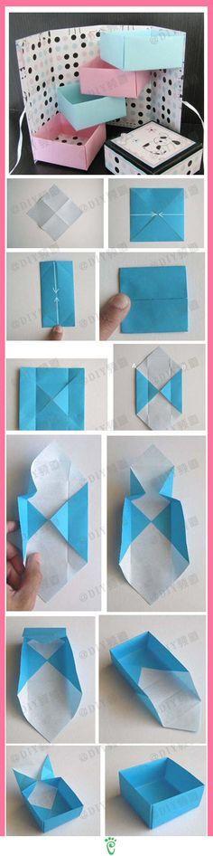 como fazer uma caixa com papel dobradura