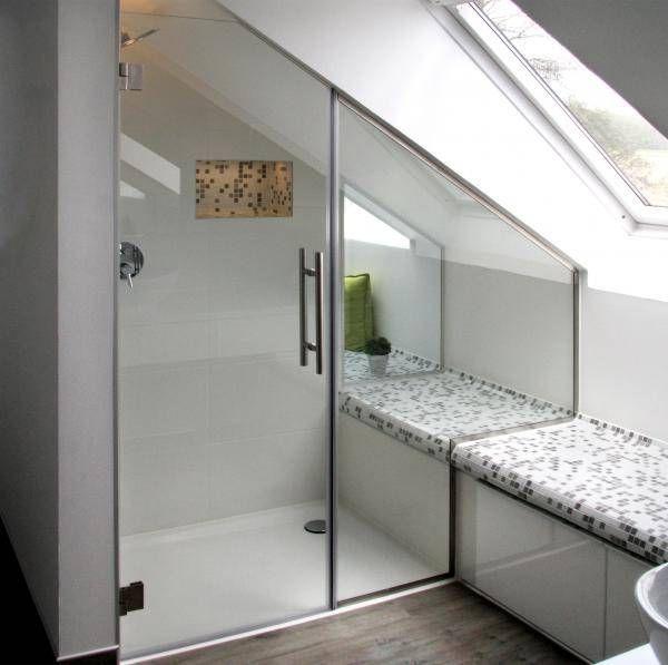 Dusche in Nische unter Dachschräge (mit Bildern