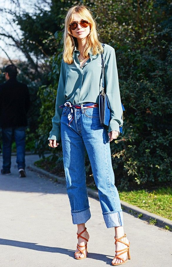 Silky green blouse + printed silk scarf + cuffed jeans