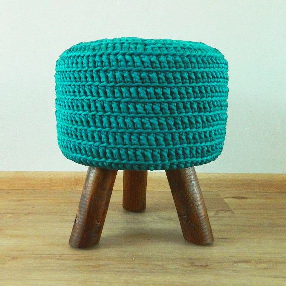 Turquoise stool footstool with hand crocheted cover by MadebyAns, €74.75