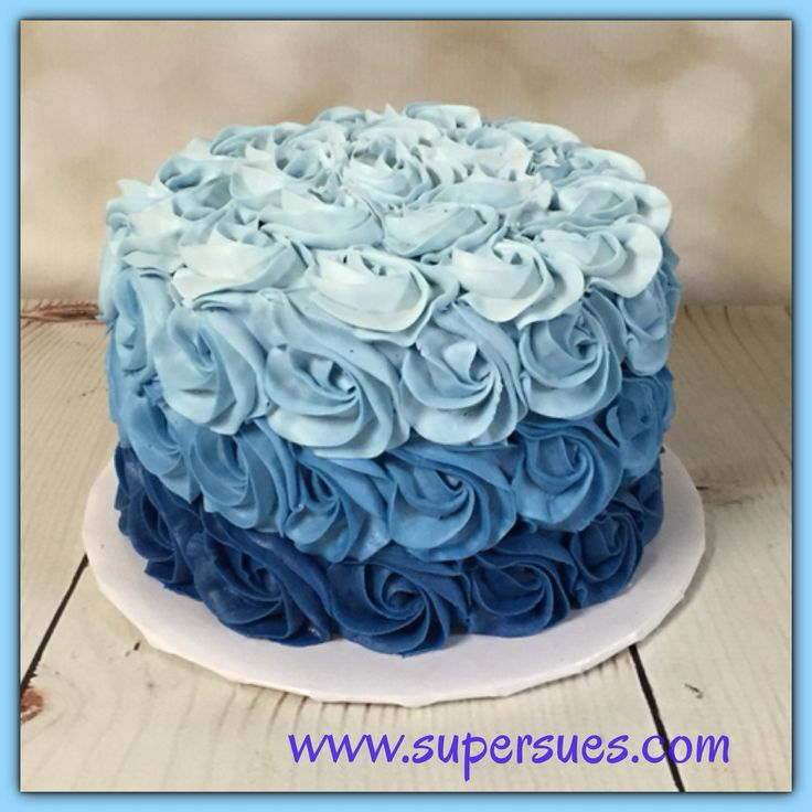 Ombre blue buttercream rose smash cake