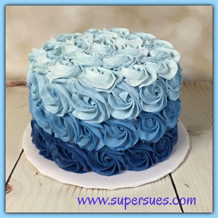 Ombre blue buttercream rose smash cake