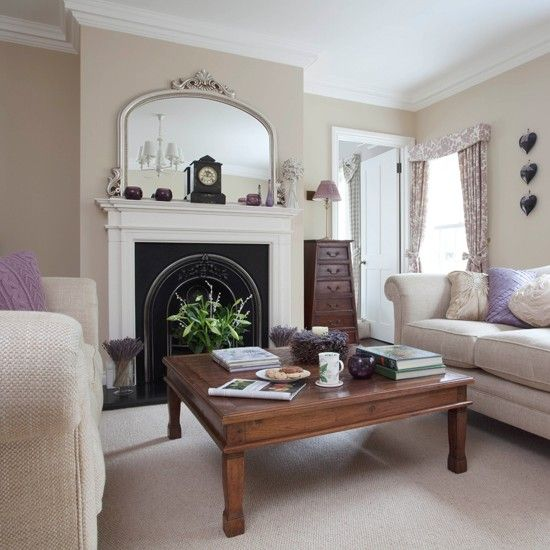 Purple living room with floral soft furnishings | Living room decorating | housetohome.co.uk