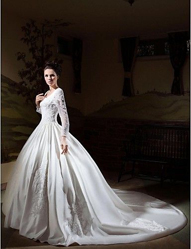 Fabulous Ball Gown Square Neck Cathedral Train Satin Wedding Dress with Beading Appliques by LAN TING BRIDE
