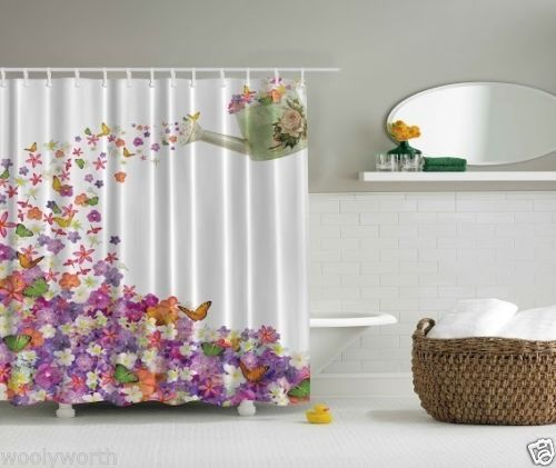 Design Digital Graphic Print Shower Curtain Set Non Vinyl Bath Tub Liner Waterproof Fabric Mildew Resistant Material Hooks Included Retro Floral Theme