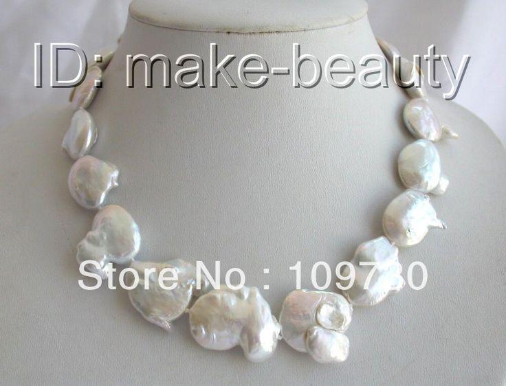 Ювелирные изделия 00950 потрясающий большой 23 мм барокко белый кеши возрождается пресноводные жемчужные ожерелья