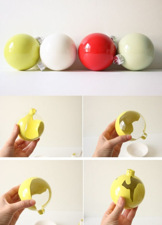 cant find that perfect color of ornaments? make your own... who knew acrylic paint had such a use!
