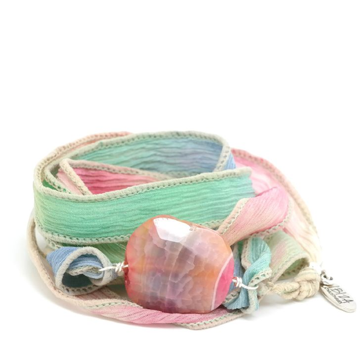 Peace Of Mind Zijde Wikkel Armband Agaat Edelsteen ♡ available at www.ibizamusthaves.nl
