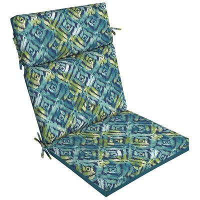 Garden Treasures Blue Geometric Reversible High-Back Chair Cushion