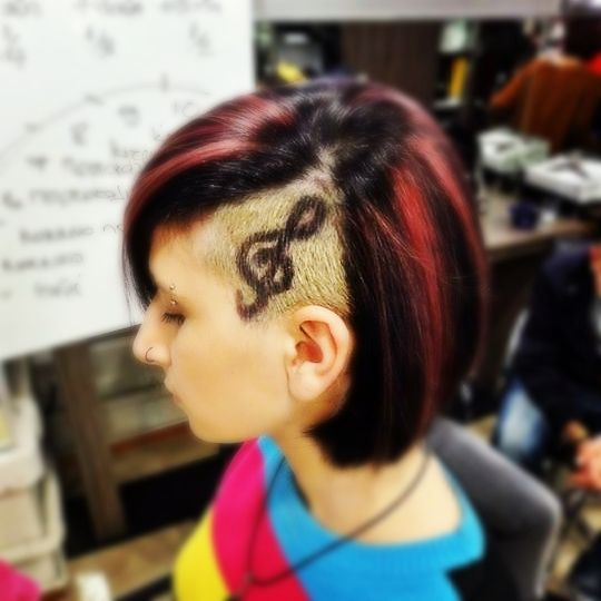 Sidecut Hair tattoo - Treble Clef for our musician hair tattoo by Penny Voudouri