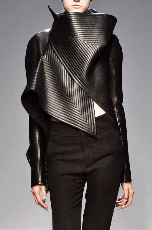 Sculptural Fashion - black leather jacket; futuristic fashion armour // Gareth Pugh Fall 2010