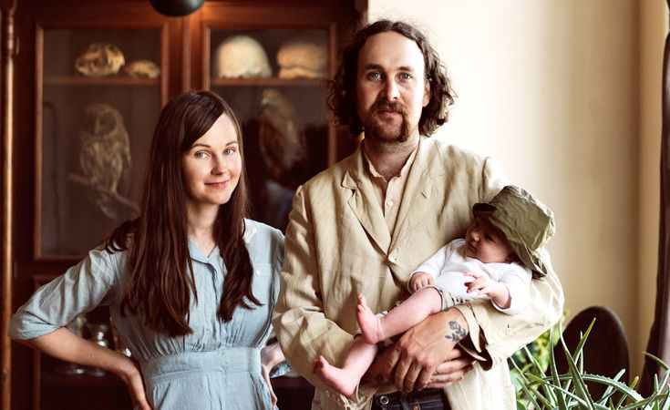 Luke Scarola and Rebecca Squiers, the proprietors of Luddite at home with their son Jude.