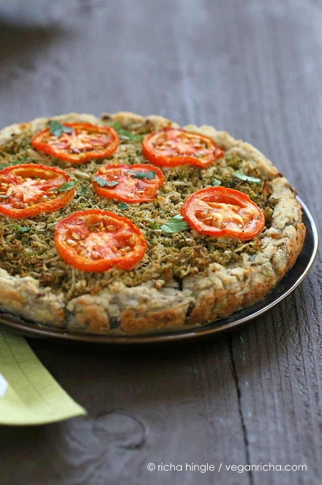 Cauliflower Broccoli Masala Pie with Potato Black Eyed Pea Crust. Hearty, healthy, and gluten-free - we can dig it.