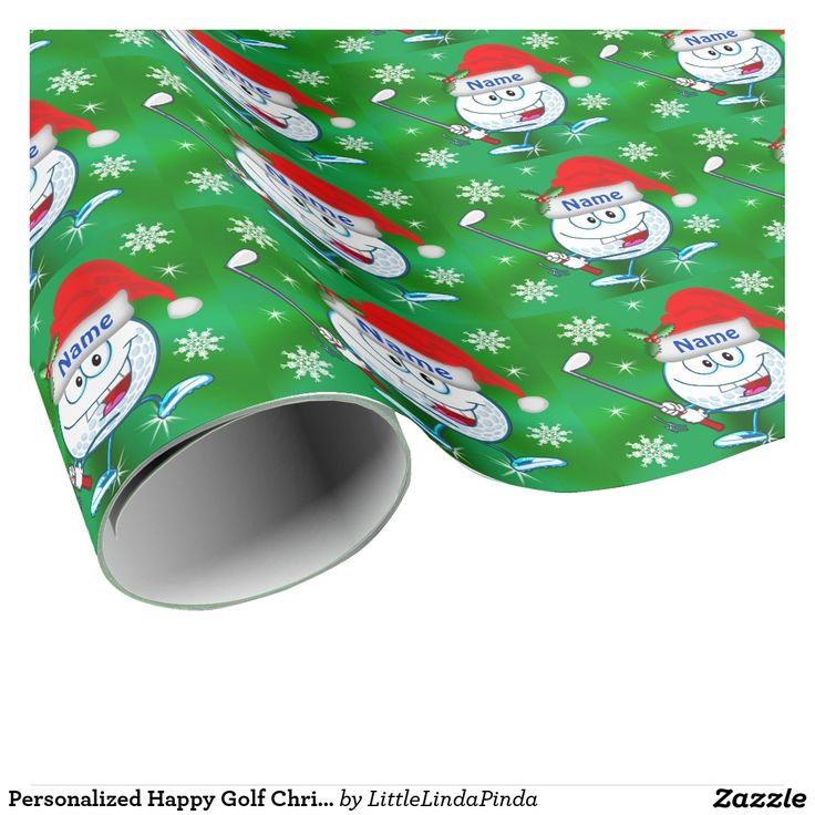 Personalized and Funny Golf Christmas Wrapping Paper with Your NAME or TEXT. CLICK: http://www.zazzle.com/pd/spp/pt-zazzle_wrappingpaper?dz=10405875-41aa-4245-b179-9f9c1e0a7a29&clone=true&pending=true&size=6ftroll&media=wrappingpaper_matte&design.areas=%5Bwrappingpaper_tile_front%5D&view=113604302755088216&CMPN=shareicon&lang=en&social=true&rf=238147997806552929 Bright Golf Gift Wrapping Paper for golf lovers. Happy Golf Ball Man with Santa Hat. Zazzle.com/LittleLindaPinda