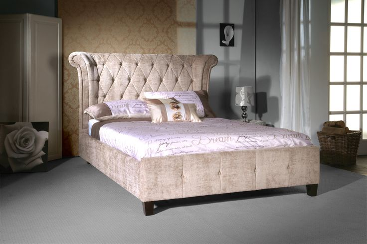 a great looking fabric bed with a tall hotel style headboard available in black or mink fabric beds pinterest fabrics chesterfield and bedrooms - High King Size Bed Frame