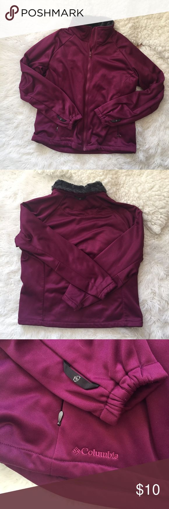 "Columbia Interchange Faux fur purple jacket Women's Columbia jacket with faux fur inside collar. Measurements: bust - 44"", length (armpit to hem) - 13"". 💫 Smoke free home. Offers are welcome! No trades, please. Bundle multiple items for a discount and only pay for shipping once! Columbia Jackets & Coats"