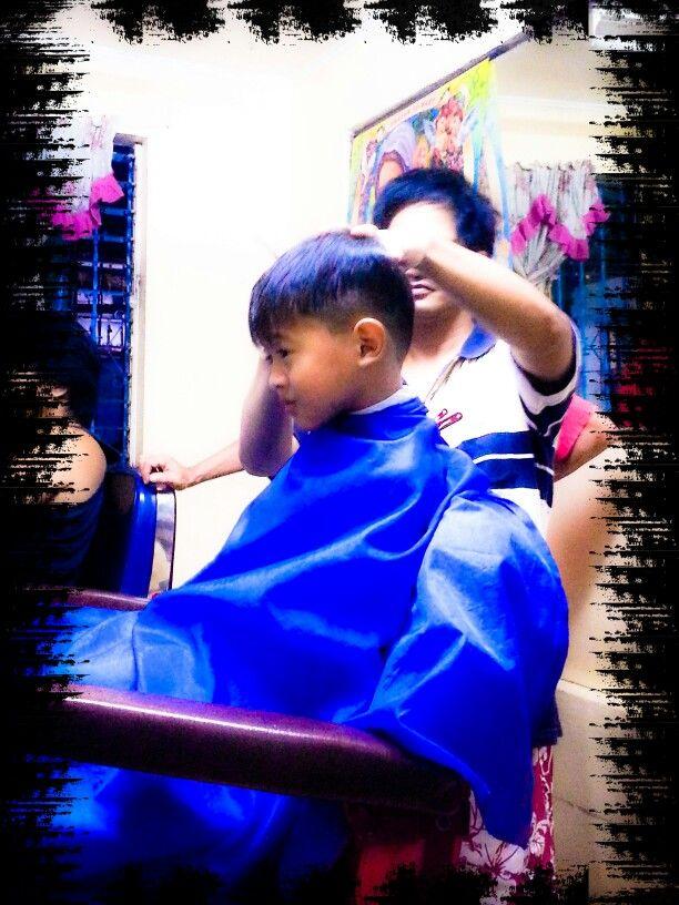 Haircut day my son