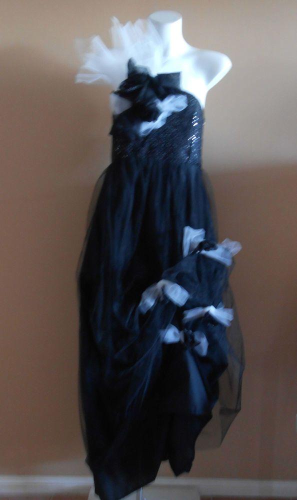 VINTAGE HARAH DESIGNS BLACK SEQUINS TULE FORMAL  FULL LENGTH STRAPLESS DRESS