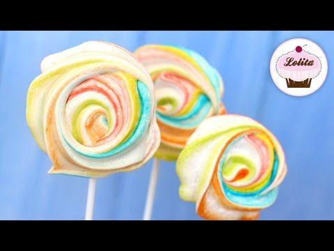 Receta de rosas de merengue de colores | Receta de merengue duro | Como hacer merengue suizo - YouTube