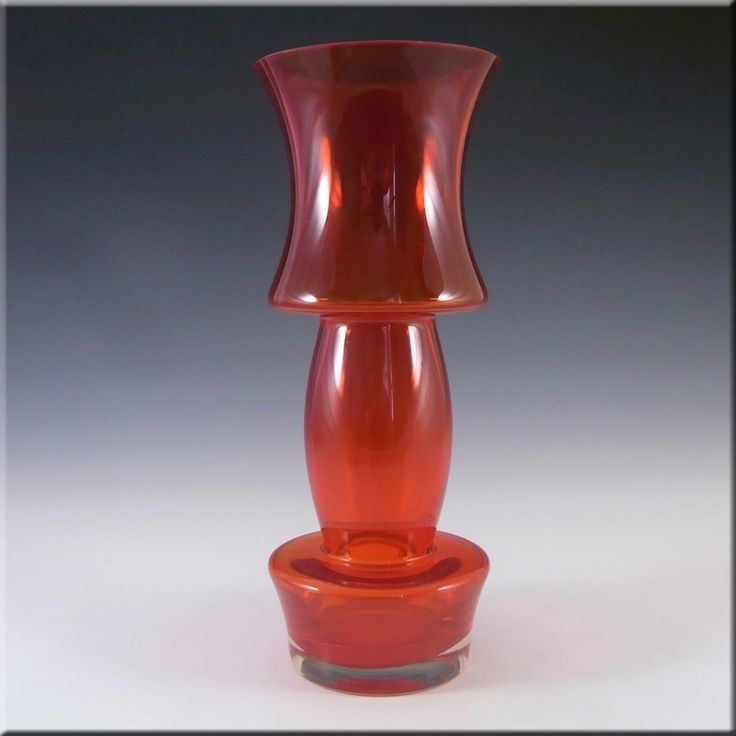 Riihimaki/Riihimaen Lasi Oy Finnish Red Glass Vase - £60.00