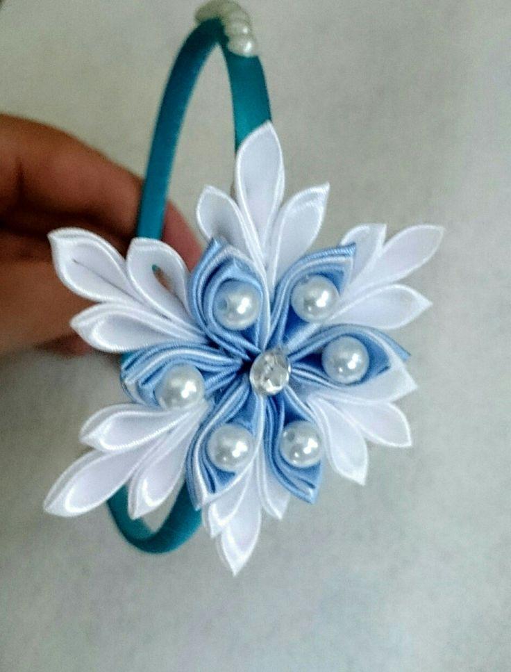 Cerchietto Frozen kanzashi handmade