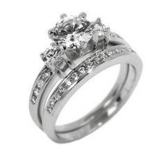 Dvojitý luxusní stříbrný prsten se zirkony Swarovski