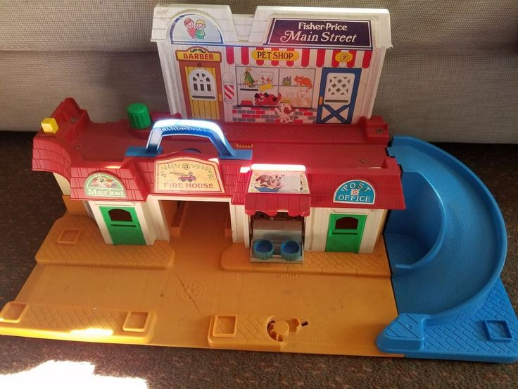 Vintage Fisher Price Main Street Little People Playset    Good used condition overall     Does show a little sign of aging and play wear    slide blue piece connects , but one spot is missing rip of end of connector -still goes together     All moving parts work    Please inspect photos for more information     THANKS AND be sure to check out all our other collectibles for sale   eBay!