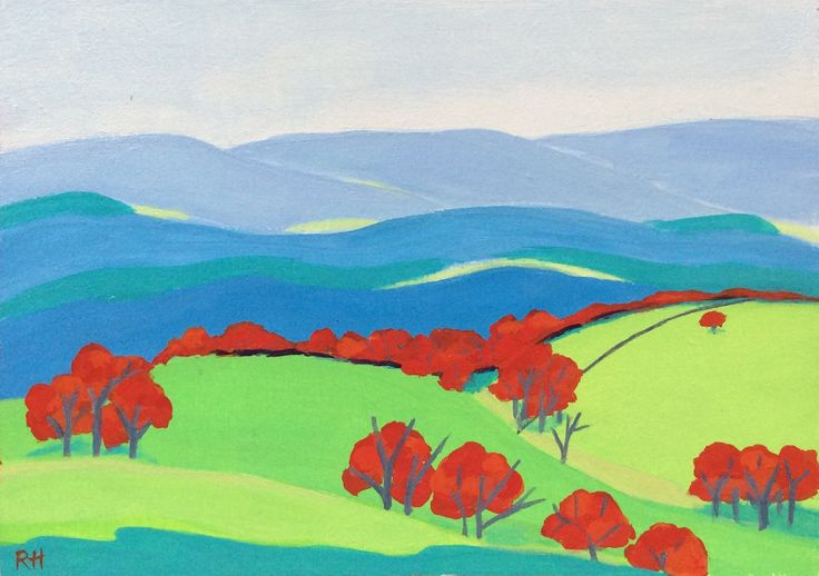 The View From the Hill. Acrylic on wood by Robyn Henchel.