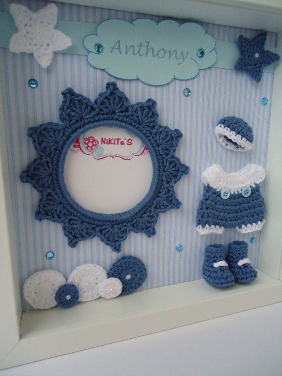 Photo frame with 3D crochet applications Wall by NikitasStore #crochet #photo #frame #nikitasstore #babyboy