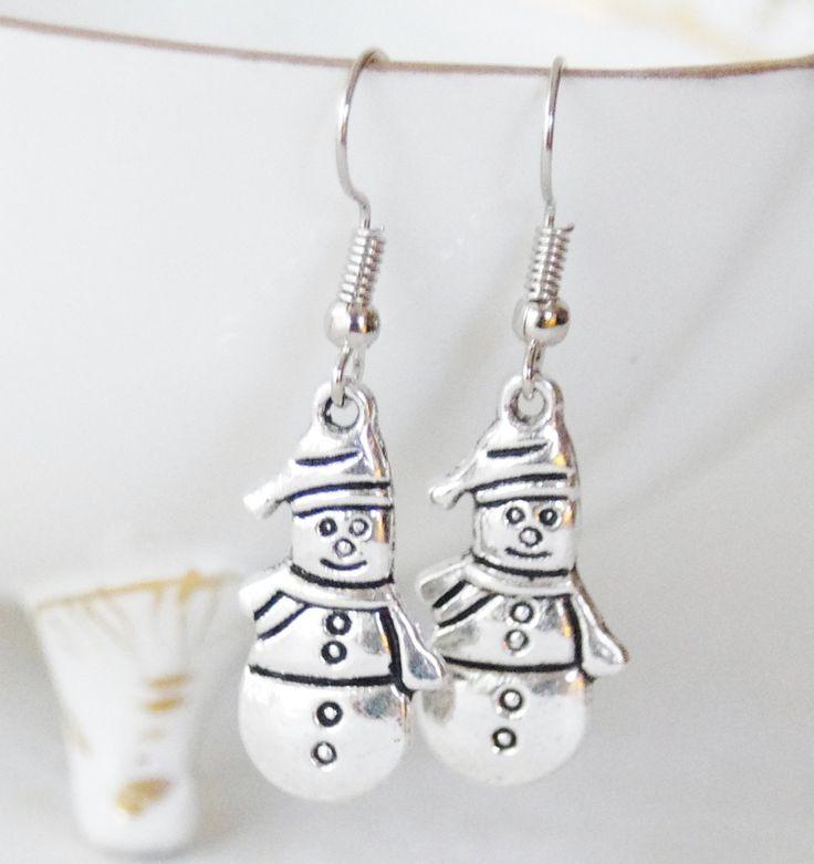 Silver Snowman Earrings * Festive Earrings * Holiday Jewelry * Snowman Winter Earrings * Snowflake Jewelry * Christmas Gift * Noel Earrings by SmittenKittenKendall on Etsy
