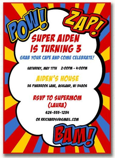 CUSTOM Superhero Birthday Party Invitation in the new Catch My Party Printables Store! | CatchMyParty.com