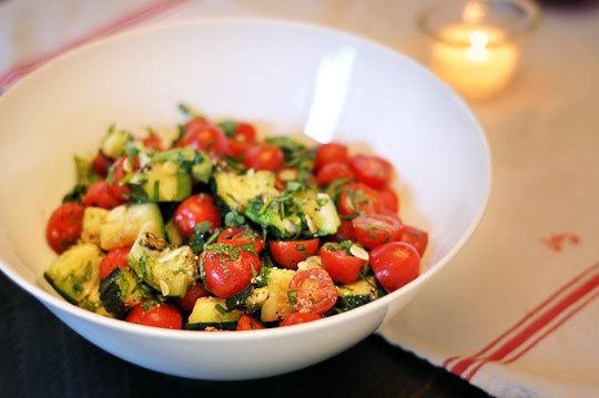 grilled zucchini and grape tomato salad
