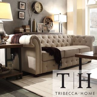 Tribecca Home Knightsbridge Beige Linen Tufted Scroll Arm Chesterfield Sofa