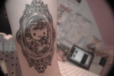 A Victorian Hello Kitty cameo tattoo! Cute alternative to the overly common HK tat.