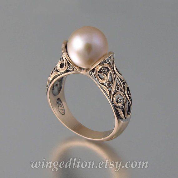 The ENCHANTED PEARL 14K anillo de oro rosa perla rosa   – All 4 the love of Fashion ;0