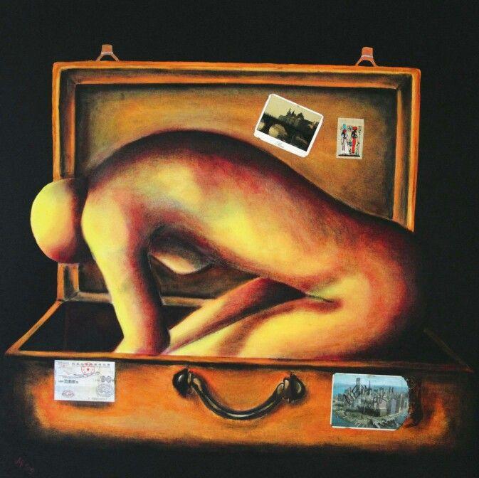 La valigia dei sogni olio su tela cm 90x90