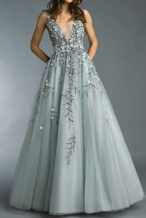 96ba17f71f2 Basix Black Label Grey V Neck Floral 3D Applique Evening Gown Dress ...