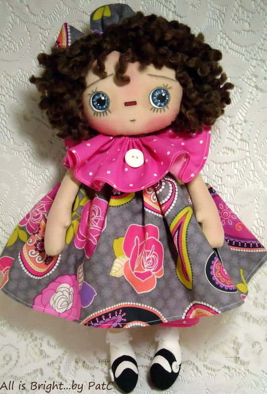 Primitive Raggedy Doll Gabriella and Her Kitty by Allisbright