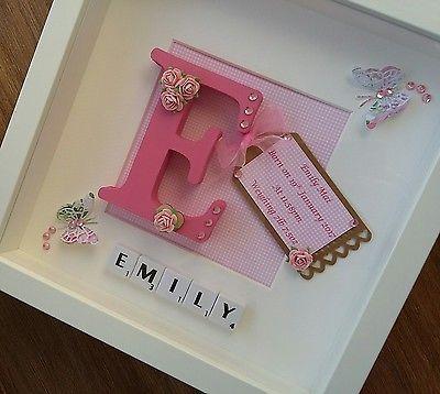 Personalised scrabble frame New Baby Christening, Boy & Girl Gift Keepsake