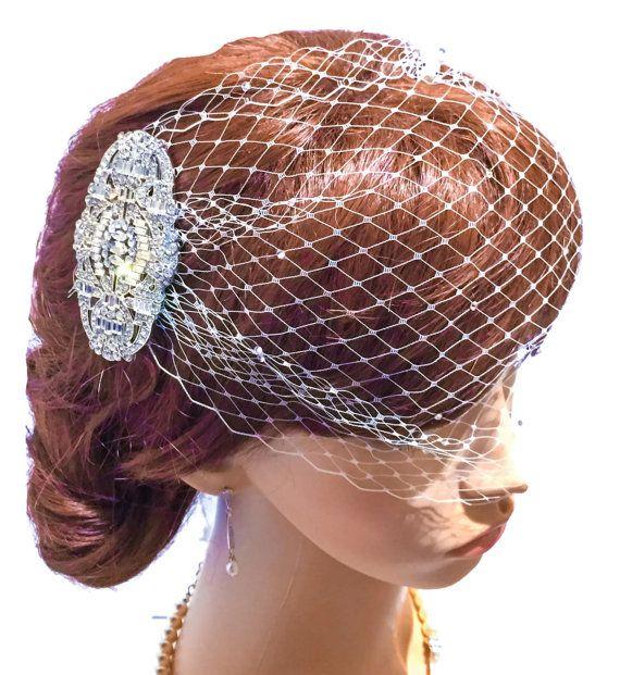 Art Deco comb & Birdcage blusher veil bandeau Ivory White SwarovskI crystal Vintage 1920's 1940's Russian net Bride veil, wedding hair