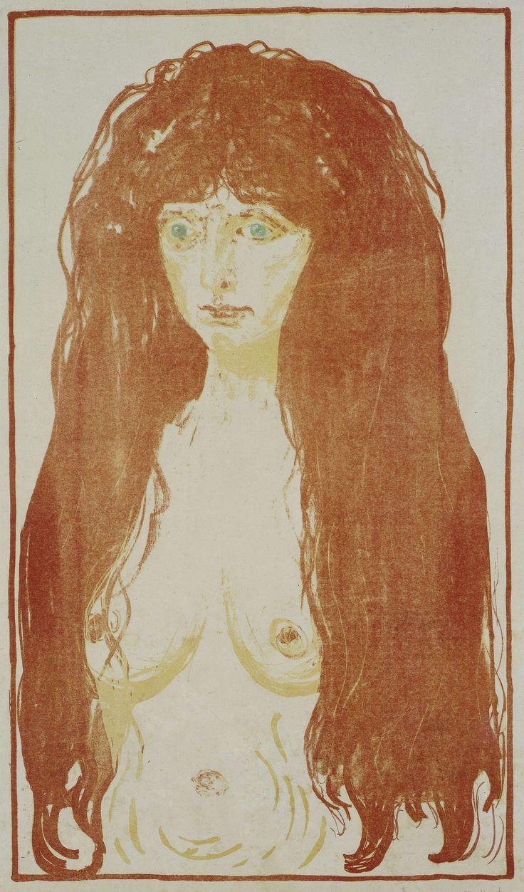 Naakte vrouw met rood haar en groene ogen, Edvard Munch, 1873 - 1944