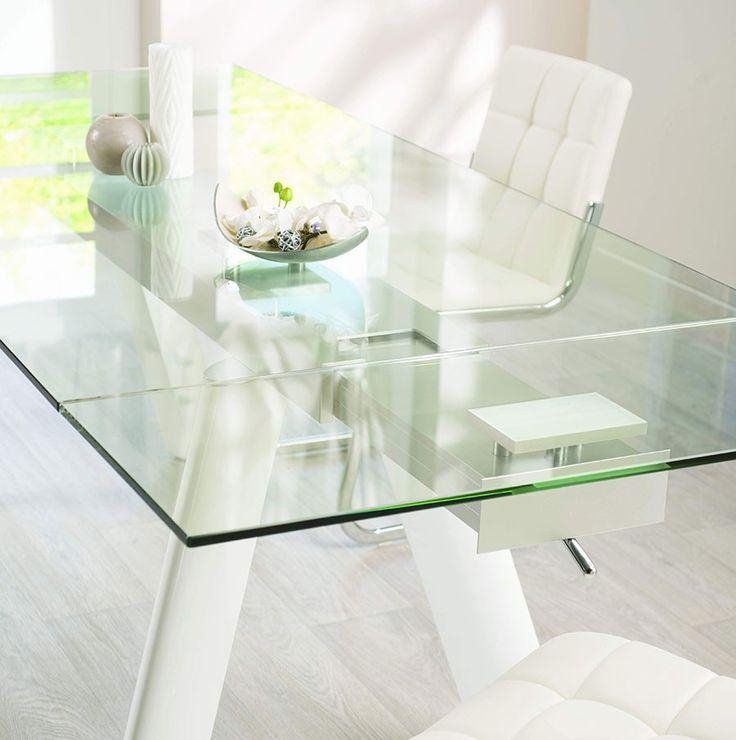 Table de salle à manger design en verre et aluminium OLEANE, coloris blanc laqué
